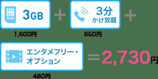 3GB 1,600円+3分かけ放題650円+エンタメフリー・オプション480円=2,730円