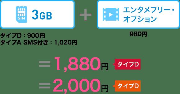 3GB (タイプD 900円、タイプA SMS付き1,020円)+エンタメフリー・オプション980円=タイプD1,880円 タイプA2,000円