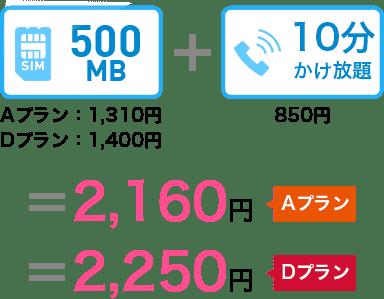 500MB(Aプラン1,310円・Dプラン1,400円)+10分かけ放題850円=2,160円(Aプラン)2,250円(Dプラン)