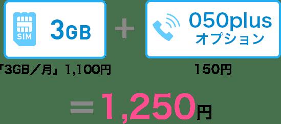 3GB/月コース1,100円+050plus150円=1,250円