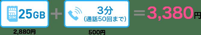 25GB 2,880円+3分の通話50回まで500円=3,380円
