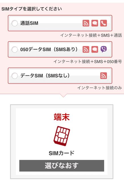 楽天モバイル「SIMカードのみ契約する」画像