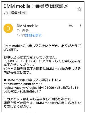 DMMモバイルこの内容で申し込む画面